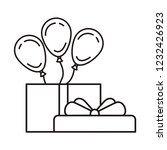 gift box with balloons helium... | Shutterstock .eps vector #1232426923