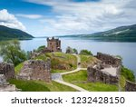 Ruins of Urquhart Castle on  Lake Loch Ness, Scotland