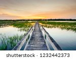 Sunset Over Coastal Waters With ...