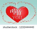 happy valentine's day. love... | Shutterstock .eps vector #1232444440