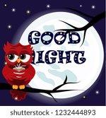 cute cartoon owl coquettish red ...   Shutterstock . vector #1232444893