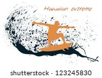 Surfer silhouette on grunge background - stock vector