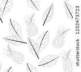 vector flower black white... | Shutterstock .eps vector #1232473723