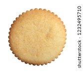 Small photo of Gingerbread with serrated edges isolated on white background close up, top view