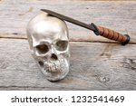 Human Skull With Fighting Knife....