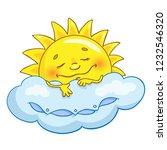 cheerful sun in cartoon style... | Shutterstock .eps vector #1232546320