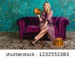 attractive woman in stylish...   Shutterstock . vector #1232552383