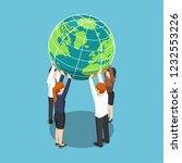 flat 3d isometric business team ... | Shutterstock .eps vector #1232553226