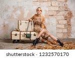 attractive stylish blonde woman ...   Shutterstock . vector #1232570170