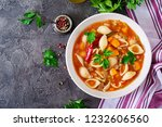 minestrone  italian vegetable... | Shutterstock . vector #1232606560
