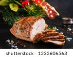 roasted sliced christmas ham of ... | Shutterstock . vector #1232606563