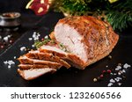 roasted sliced christmas ham of ...   Shutterstock . vector #1232606566