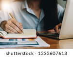 close up business woman working ... | Shutterstock . vector #1232607613