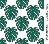 monstera leaf seamless doodle... | Shutterstock .eps vector #1232627599