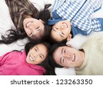 happy asian  family with heads... | Shutterstock . vector #123263350