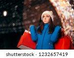 tired girl holding shopping... | Shutterstock . vector #1232657419