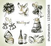 wedding set. hand drawn... | Shutterstock .eps vector #123268348