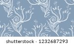 flower doodles seamless pattern.... | Shutterstock .eps vector #1232687293