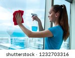 a young housewife in a blue t... | Shutterstock . vector #1232703316
