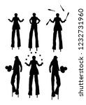 clown on stilts with balloons...   Shutterstock .eps vector #1232731960