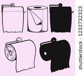 toilet paper on holder vector... | Shutterstock .eps vector #1232732323