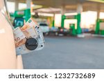 euro money in car tank gas...   Shutterstock . vector #1232732689