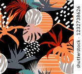 abstract flower and tropical... | Shutterstock .eps vector #1232738626