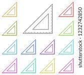 triangular ruler icon in multi...