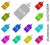 glue icon in multi color style. ...