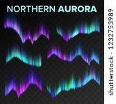 northern aurora set vector.... | Shutterstock .eps vector #1232753989