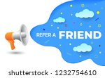 megaphone with refer a friend...