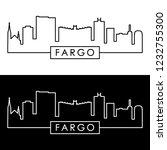 Fargo skyline. Colorful linear style. Editable vector file.
