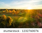 Aerial View Of Sunset Over Golf ...