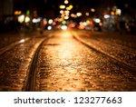Tram Rails At Night In Freiburg