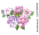 cute bouquet with pink roses... | Shutterstock . vector #1232785990