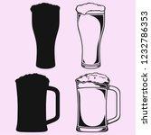 glass of beer with foam vector... | Shutterstock .eps vector #1232786353