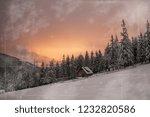 wooden house in winter forest... | Shutterstock . vector #1232820586