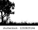 vector silhouette of grass with ... | Shutterstock .eps vector #1232825146