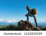stylish bearded male traveler... | Shutterstock . vector #1232833339