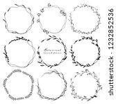 set of botanical round frame ... | Shutterstock .eps vector #1232852536