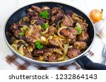 frying pan with fried chicken...   Shutterstock . vector #1232864143