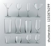 transparent glass set.... | Shutterstock . vector #1232876299