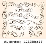 set of elegant decorative... | Shutterstock .eps vector #1232886616