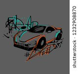 t shirt design with sketch car... | Shutterstock .eps vector #1232908870