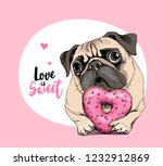 Stock vector card of a valentine s day adorable puppy pug with a pink heart donut love is sweet lettering 1232912869