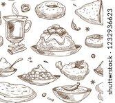 indian cuisine sketch pattern... | Shutterstock .eps vector #1232936623