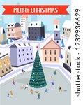 merry christmas people walking... | Shutterstock .eps vector #1232936629