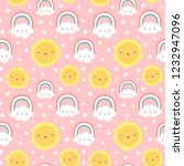 cloud rainbow and star cute... | Shutterstock .eps vector #1232947096