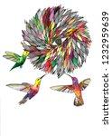 hummingbird colibri bird flower ... | Shutterstock . vector #1232959639