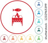 brazier grill with fish icon.... | Shutterstock .eps vector #1232965399